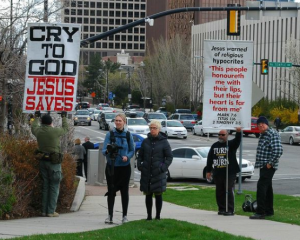 So Mormon we had our own anti-Mormon protestors.