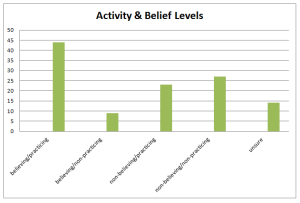 church activity and belief levels