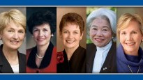 Image description: nine portraits side by side of LDS women leaders smiling at the camera. From left to right, they are Neill F. Marriot; Vicki F. Matsumori; Cheryl A. Esplin; Margaret Dyreng Nadauld; Cheryl C. Lant; Chieko N. Okazaki; Bonnie Dansie Parkin; Sylvia Allred; Carole M. Stephens.