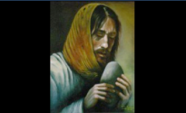 """Image description: painting titled """"Temptation of Christ,"""" by Rohann Zulienn. Christ wears a yellow-ish head scarf, with long dark hair poking out, and is looking down at a large rounded stone he holds close to his mouth."""